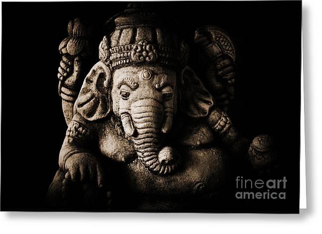 Ganesha The Elephant God Greeting Card by Tim Gainey