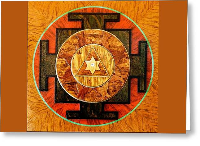 Ganesha Sacred 3d High Relief Artistically Crafted Wooden Yantra    23in X 23in Greeting Card by Peter Clemens