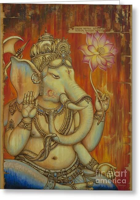 Ganesha Greeting Card by Yuliya Glavnaya
