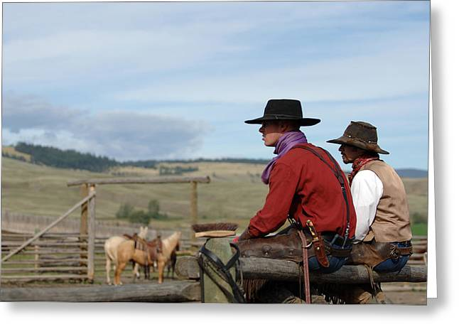 Gang Ranch Cowboys Greeting Card by Lee Raine