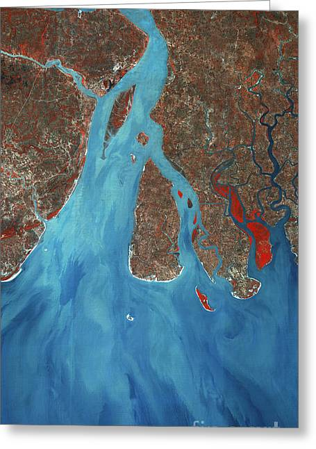 Ganges River, India. Satellite Image Greeting Card