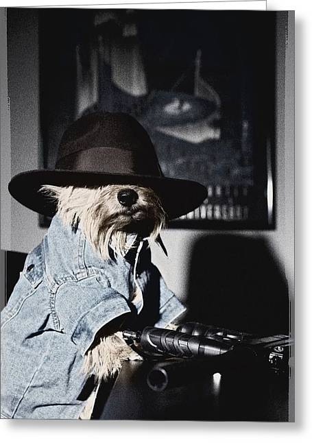 Gangster Dog Greeting Card by Susan Stone
