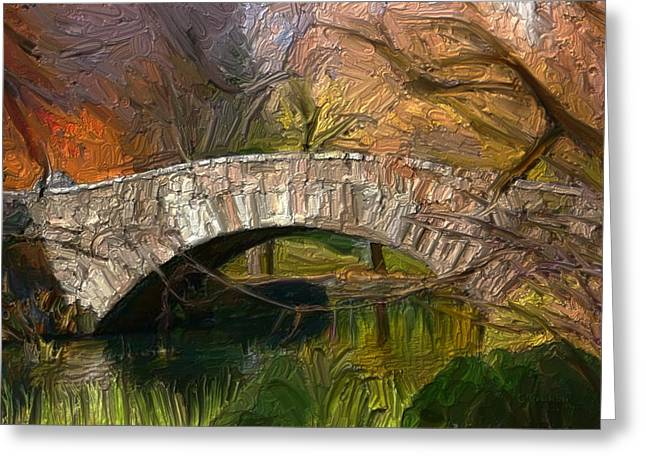 Gapstow Bridge In Central Park Greeting Card by GCannon