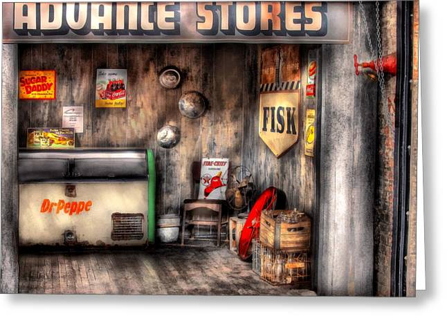 Garage - Advance Stores  Greeting Card by Mike Savad