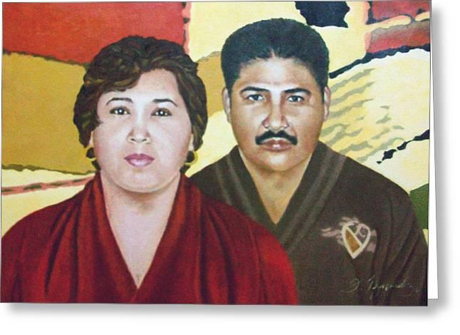 Garcia Family Portrait  Retrato De La Pareja Garca Greeting Card by Fernando A Hernandez