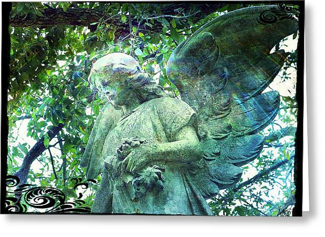 Greeting Card featuring the digital art Garden Angel - Divine Messenger by Absinthe Art By Michelle LeAnn Scott