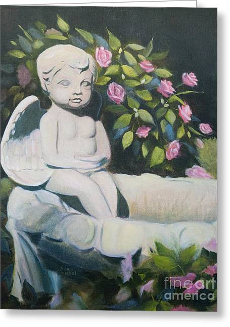 Garden Angel Greeting Card by Judy Neebel