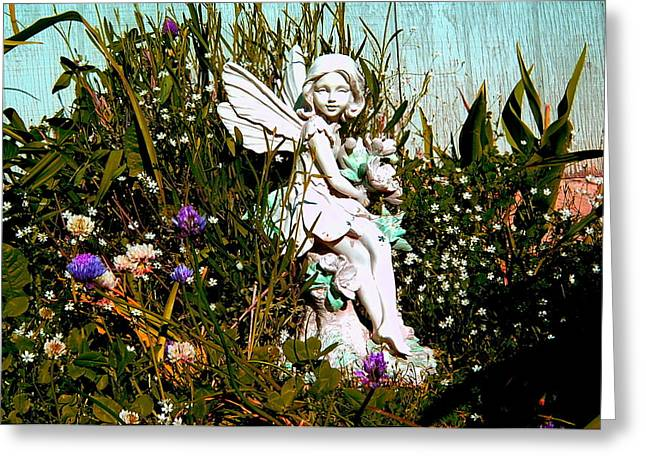 Garden Angel Greeting Card by Mavis Reid Nugent