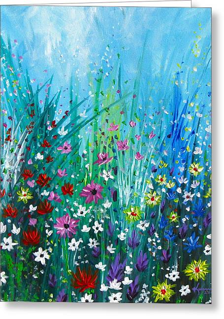 Garden At Early Morning Greeting Card by Kume Bryant