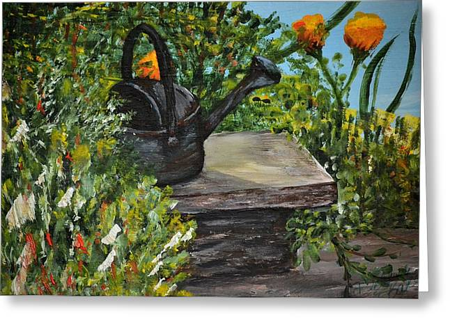 Garden Bench Greeting Card by Debbie Baker