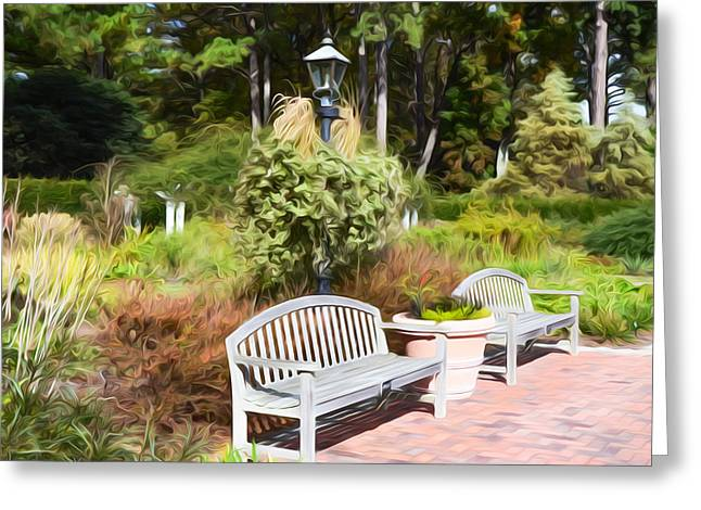 Garden Bench Greeting Card by Lanjee Chee