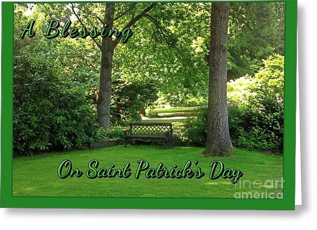 Garden Bench On Saint Patrick's Day Greeting Card