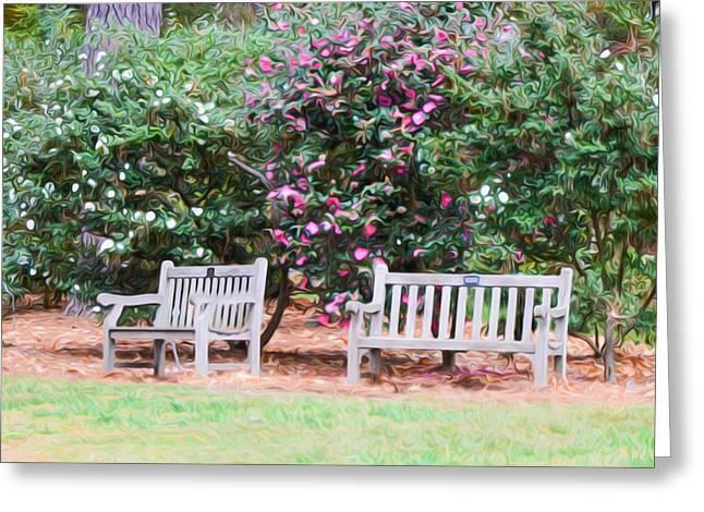 Garden Benches Greeting Card