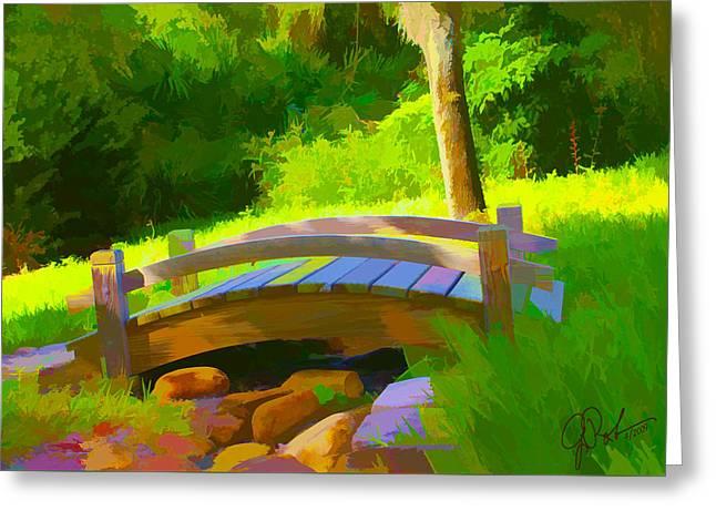 Garden Bridge Greeting Card by Gerry Robins