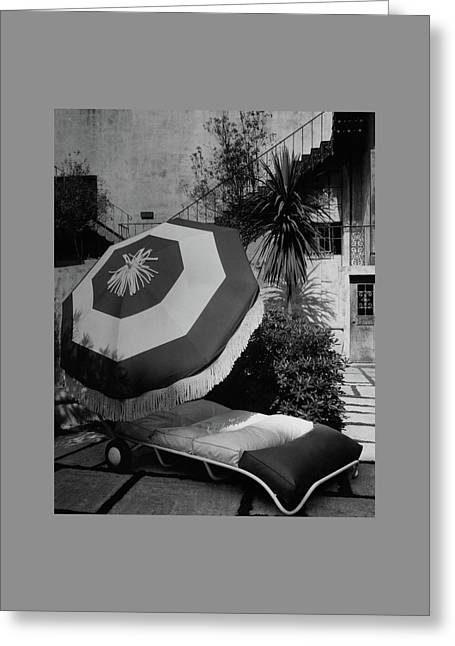 Garden Chaise Lounge Greeting Card by Peter Nyholm