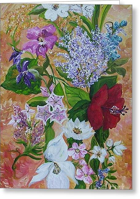 Greeting Card featuring the painting Garden Delight by Eloise Schneider