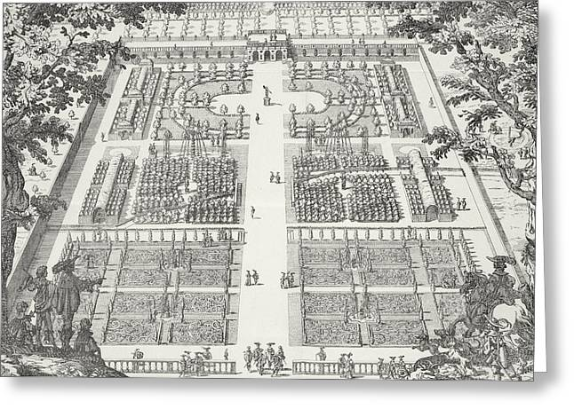 Garden Design From The Gardens Of Wilton Greeting Card by Isaac de Caus