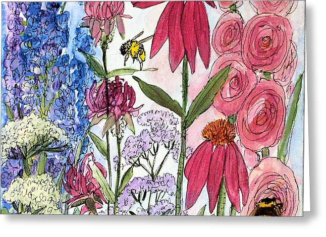 Garden Flower And Bees Greeting Card