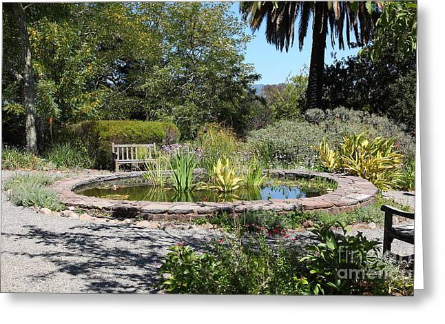 Garden Fountain At Historic Jack London Cottage In Glen Ellen California 5d24545 Greeting Card by Wingsdomain Art and Photography