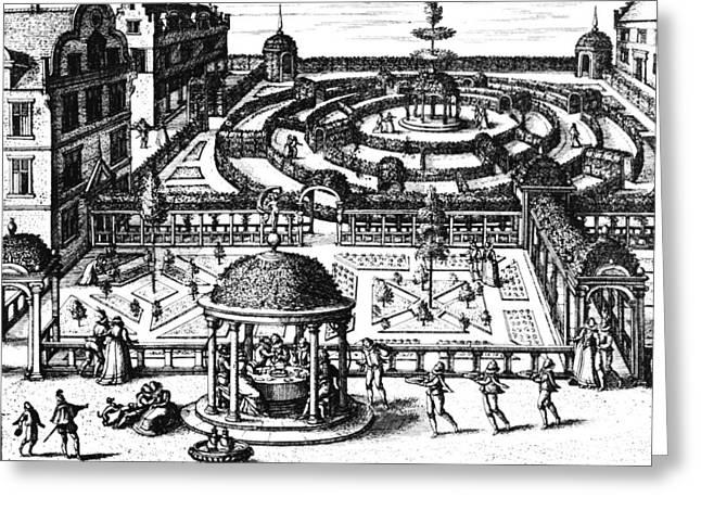Garden From Hortum Viridariorumque Elegantes Et Mumultiplicis Formae Greeting Card by Vredeman de Vries