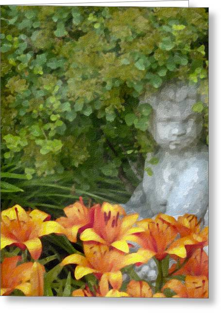 Garden Girl And Orange Lilies Digital Watercolor Greeting Card by Sandra Foster