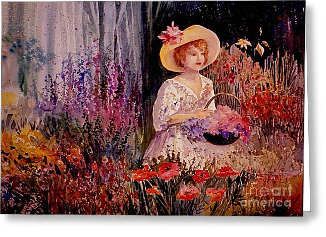 Garden Girl Greeting Card by Marilyn Smith