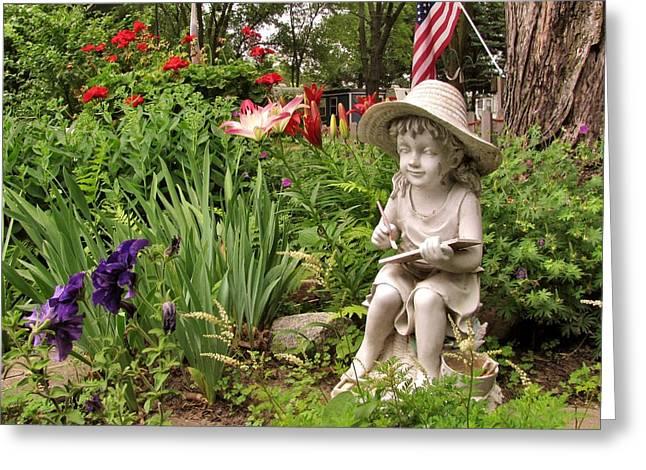 Garden Girl Statue Greeting Card