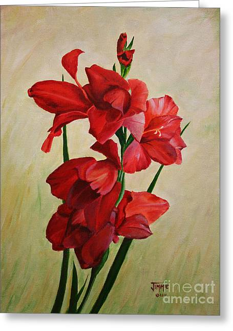 Greeting Card featuring the painting Garden Gladiolas by Jimmie Bartlett