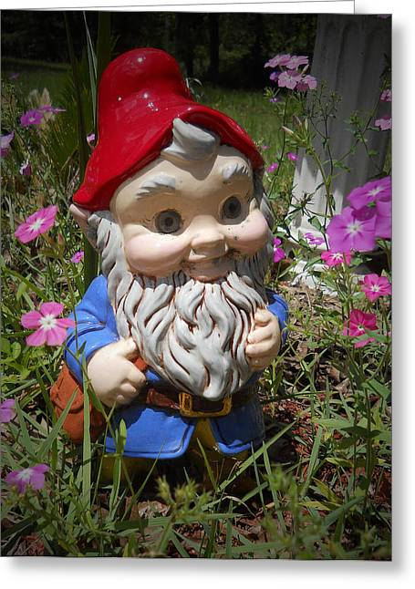 Garden Gnome Greeting Card by Judy Hall-Folde
