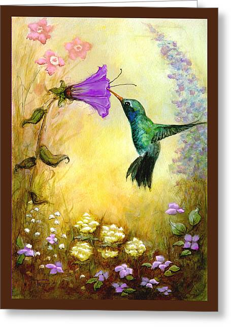Greeting Card featuring the mixed media Garden Guest In Brown by Terry Webb Harshman