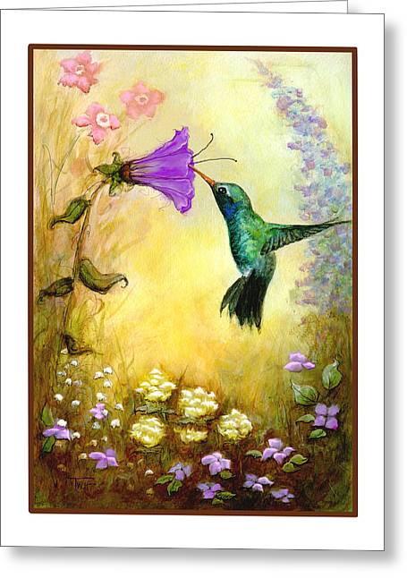 Greeting Card featuring the mixed media Garden Guest by Terry Webb Harshman