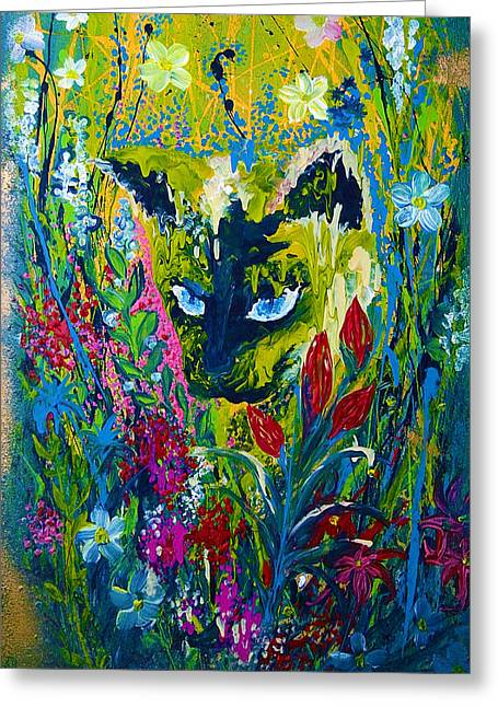 Garden Hunter Cat Painting Greeting Card