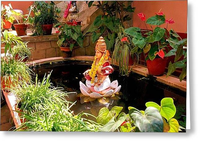 Garden In Amma's Ashram Greeting Card