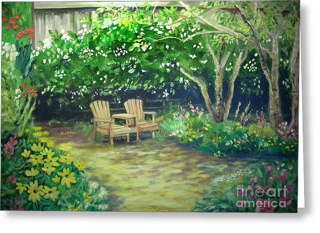 Garden In Cambria Greeting Card by Don Felich