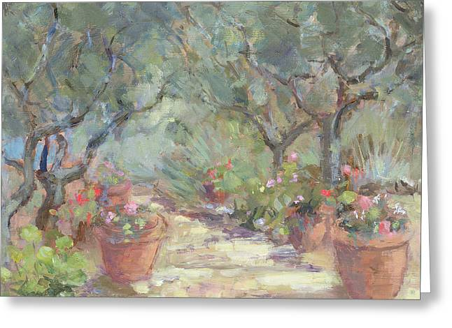 Garden In Porto Ercole, Italy Greeting Card by Karen Armitage