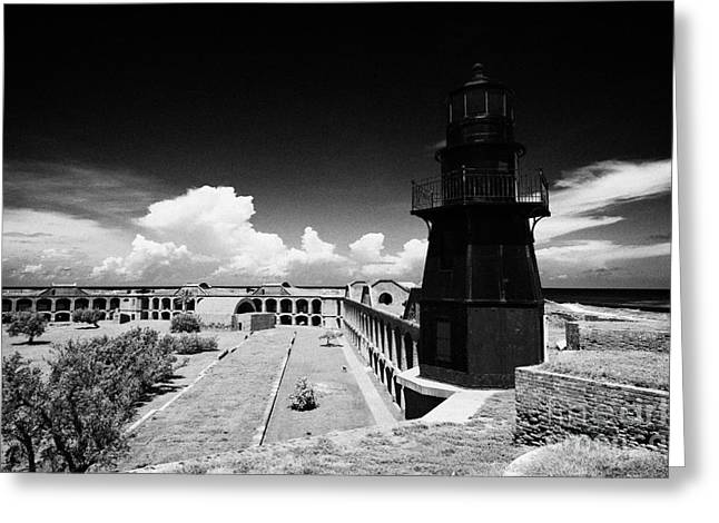 Garden Key Lighthouse Terreplein And Interior Soldiers Barracks On Fort Jefferson Dry Tortugas Natio Greeting Card