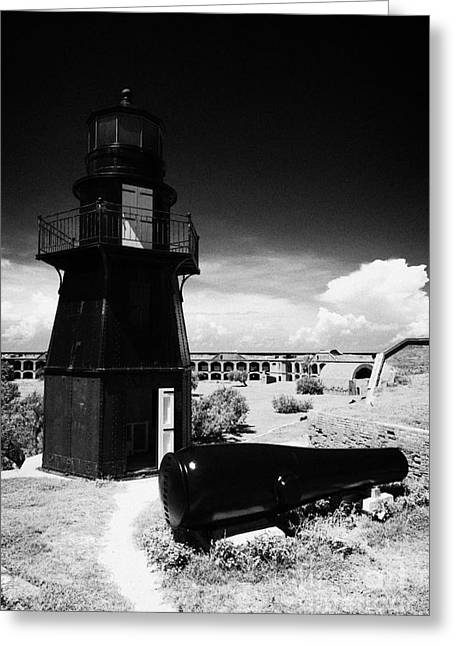 Garden Key Lighthouse Terreplein And Rodman Cannon On Fort Jefferson Dry Tortugas National Park Flor Greeting Card by Joe Fox