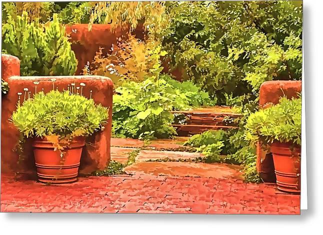 Greeting Card featuring the painting Garden by Muhie Kanawati