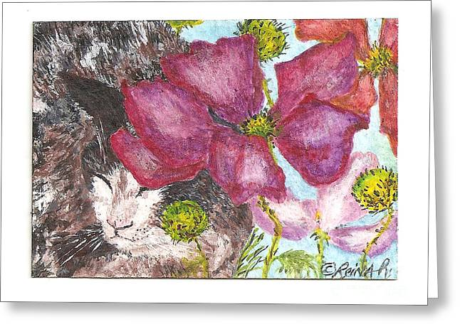 Garden Nap Greeting Card by Reina Resto