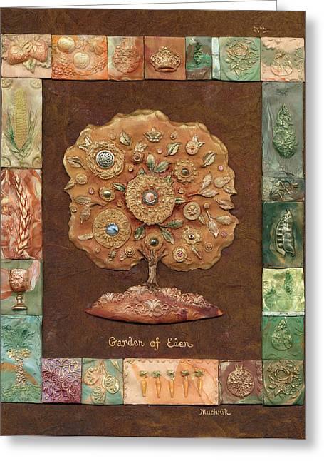 Garden Of Eden Greeting Card by Michoel Muchnik