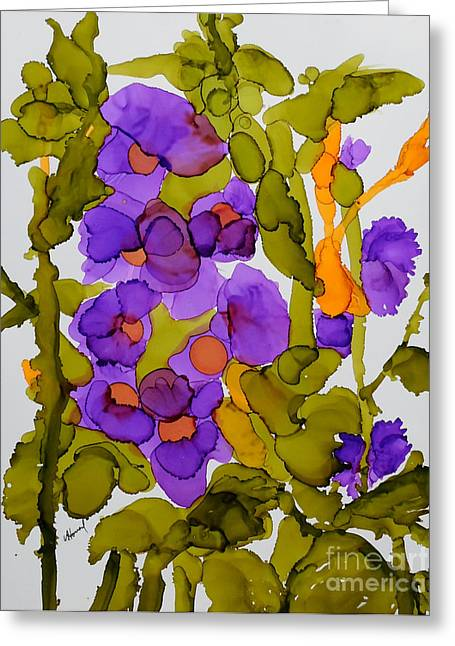 Garden Of Hollyhocks Greeting Card