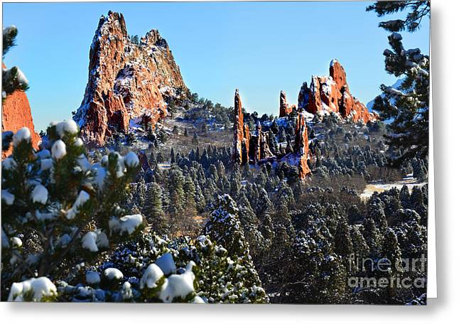 Greeting Card featuring the photograph Garden Of The Gods After Snow Colorado Landscape by Jon Holiday