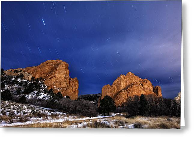 Garden Of The Gods Star Storm Greeting Card by Darren  White
