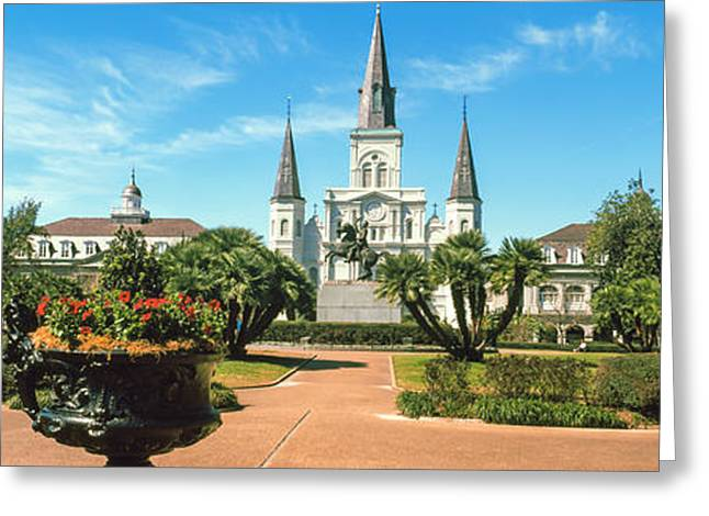 Garden Of The St. Louis Cathedral Greeting Card by Panoramic Images