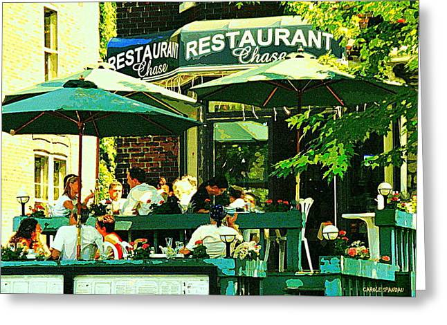 Garden Party Celebrations Under The Cool Green Umbrellas Of Restaurant Chase Cafe Art Scene Greeting Card by Carole Spandau