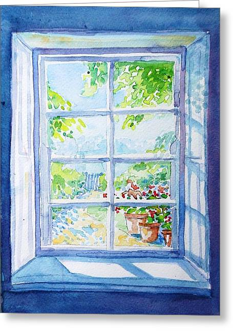 Garden Path Through A Summer Window  Greeting Card by Trudi Doyle