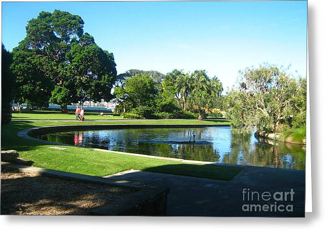 Greeting Card featuring the photograph Sydney Botanical Garden Lake by Leanne Seymour