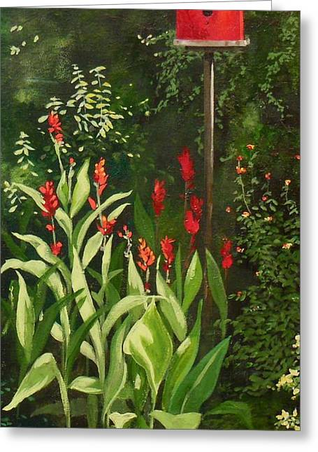 Garden Reds Greeting Card by Carla Dabney