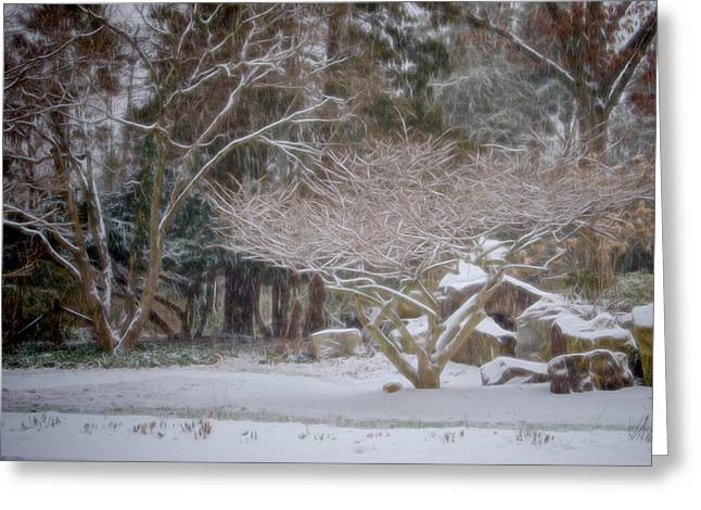 Garden Scene During Winter Snow At Sayen Gardens 2 Greeting Card
