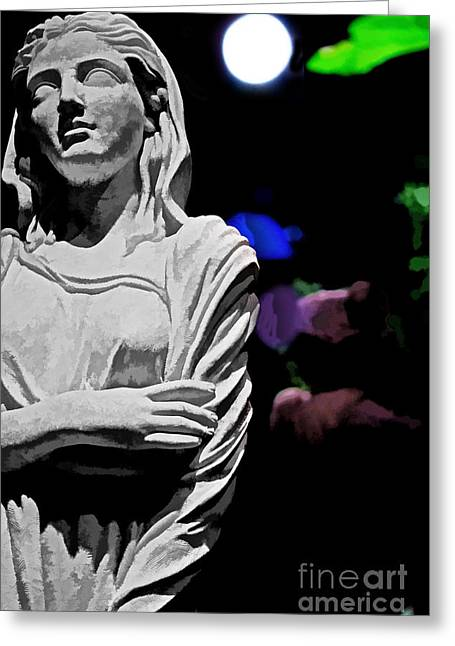 Garden Statue At Night Greeting Card by Tom Gari Gallery-Three-Photography